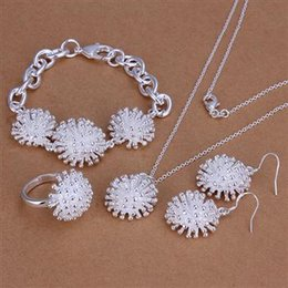 Wholesale Silver Rings For Women Cheap - Fashion jewelry sets 925 Silver Necklace Ring Earring and Bracelet Charm fireworks jewelry for women cheap hot 5sets lot