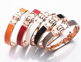 Wholesale Wristband Red For Men - Rose Gold Plated Love Bracelets For Women Men's H Cuff Bracelets & Bangles Stainless Steel Charm Bracelet Jewelry for Man femme Wristband