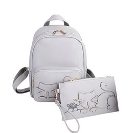 Wholesale Backpacks For Teens - Wholesale- 2017 Cat Designer Women Backpack For Teens Girls PU Leather Backpacks Preppy Style Female School Bag Bags Lady Backpack Black