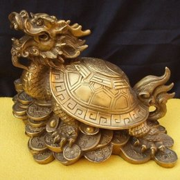 Wholesale Famous Folk Art - lucky Chinese famous brass Fengshui Dragon Turtle Statue