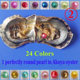 Wholesale Round Akoya Pearls - 10 PCS free shipping wish pearl oyster 6.5-7mm akoya oysters with round pearls colored round pearl in oyster with vacuum-packed
