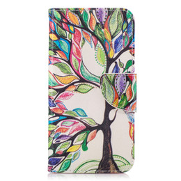 Wholesale Life Cell Phone Cover - Colorful Life Tree Painting Wallet Cases Cover for LG K10 K8 2017 V20 G6 Galaxy S9 Redmi 5A Other Cell Phone Model Case