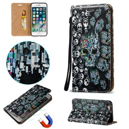 Wholesale Iphone 5s Cases Skull - Skull Pattern Flip Embossed Magnetic Fold Stand Leather Wallet Phone Cases for Apple iPhone 7 7 Plus 6 6s Plus 5s BB0278A03