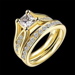 Conjuntos de oro real online-¡Nuevo! Juego de anillos chapados en oro real para las mujeres Joyería de compromiso de bodas de acero inoxidable Joyería del anillo de acero titanium de moda