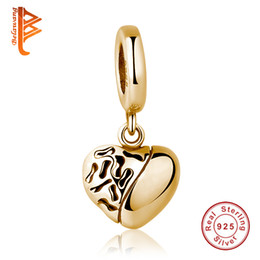 Wholesale Holiday Tops For Women - BELAWANG Top Quality DIY Charm Beads 925 Sterling Silver Pendant Gold Heart Charm Beads Fit Pandora Charm Bracelet For Women Jewelry Making