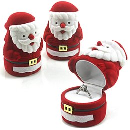 Orelha brincos jóias on-line-Caixa de jóias De Veludo Vermelho Papai Noel Projeto Presente de Natal Anel Brinco Ear Stud Colar Caixa de Jóias Caixa de Jóias organizador