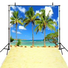 Wholesale Water Painting Photos - Palm Trees Beach Themed Photography Studio Background Sandy Floor Blue Sky Sea Water Summer Photo Booth Backdrops Nature Scenic Wallpaper