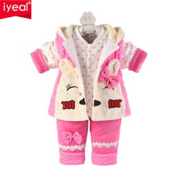 Wholesale Trouser Cartoon - Wholesale- Brand Winter Newborn Baby Girl Clothes Set 3 Pieces Cartoon Cotton Thick Warm Coat+Vest+Trousers Infant Clothing for 0-2 Years