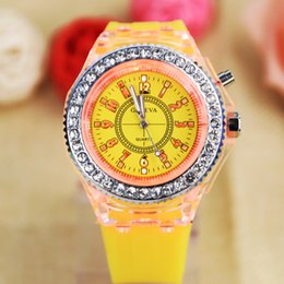 Wholesale Watches Light Women - 11 colors Mens Geneva diamond women crystal led light watch unisex silicone jelly candy fashion flash up backlight quartz watches