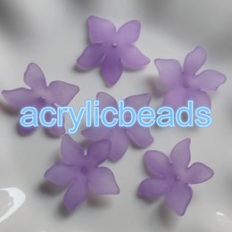 Wholesale Glory Flower - 50pcs Colors Acrylic Matt Morning Glory Orchid Flower Beads Plastic Frosted Floral Cup Pretty Petals Decoration