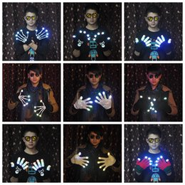 Wholesale Led Gloves Skeleton - LED Skeleton Shuffle Gloves Light Up Shows Knit Gloves Light Show Gloves for Party Rave Halloween Costume 14 Styles OOA2994