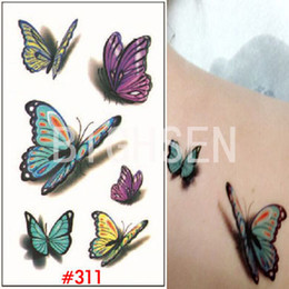 Wholesale Fake Tattooing - Wholesale-New 3d Butterfly Small Temporary Tattoos Stickers Tatoos Multicolored Tatoos Temporary Fake Tattoo 3d Tattoo Sticker WTAo311