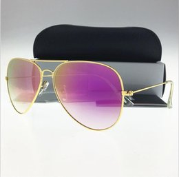 Wholesale Flash Beach - Newest Excellent Quality Fashion Designer Men's Women's Metal Frame Flash Gradient Lens Pilot Sunglasses (Glass lens) with case 58 62 mm