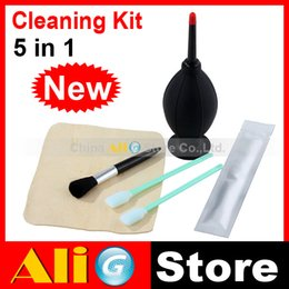 Wholesale Shammy Cloth - Wholesale- New 5 In 1 Camera Lens Cleaning Kit (Air Blower Brush Senior Shammy CCD Swabs Wand)
