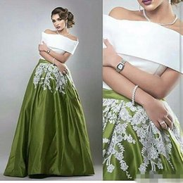 Wholesale Teal Prom Dress Crystals - Two Pieces Teal Long Arabic Evening Dresses Off the Shoulder Satin A Line Lace Floor Length Boat Neck Green Formal Dress prom Gown 2017