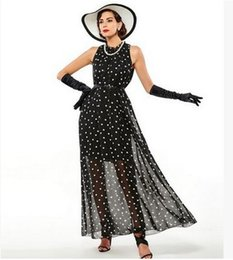 Wholesale Sheer Polka Dot Dress - 2017 fashion Women's polka dots long dress Summer style Beach Chiffon boho print bohemian black red maxi dress vestidos de festa