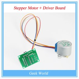 Wholesale Wholesale 5v Dc Motor - Wholesale- 10Lot 5V 4-Phase 28YBJ-48 DC Gear Step 10PCS Stepper Motor + 10PCS ULN2003 Driver Board ULN2003 For Arduino PIC MCU DIY