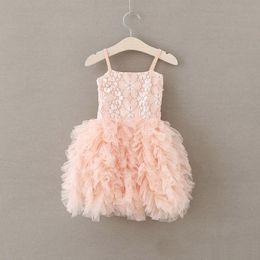 Wholesale Baby Girls Singlet Dress - 2017 Baby Girls Lace Party Dresses Kids Girls Princess tutu Floral Dress Babies Summer Singlet Tulle Dress Children's Christmas Clothing