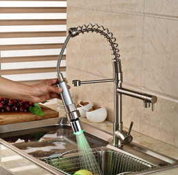 Wholesale Led Water Spout - Wholesale- Promotion LED Color Changing Spring Dual Spout Kitchen Sink Faucet Deck Mount Brass Hot and Cold Water Kitchen Mixer Taps