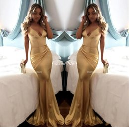 Wholesale Cheap Purple Silk Dresses - Simple Sexy V Neck Gold Mermaid Bridesmaid Evening Dress Cheap Backless Soft Satin Draped Spaghetti Strap Custom Made Long Prom Dresses 2017