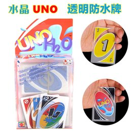 Wholesale Uno Card Game Plastic - Hot UNO poker card Crystal PVC waterproof standard edition family fun entertainment board game Kids funny Puzzle game by DHL free