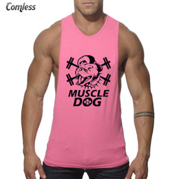 Wholesale Dog Clothes Tank Top - Wholesale- 2017 New Summer MUSCLE DOG Printed Professional Fitness Vest Tank Top Men Sleeveless Vest Casual Shirts European Stretch Clothes