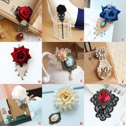 Wholesale Bridal Wedding Clothes - Ladies Party Rhinestone Bell Drop Lace Flower Brooch Pin Bridal Wedding Show Gothic Sweater Guard Clip Floral Breastpin Clothes Decoration