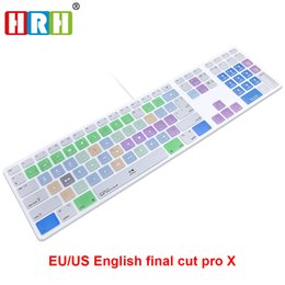 Wholesale Silicone Keyboard Wire - HRH Final Cut Pro X Hotkeys Keyboard Cover Skin For Apple Keyboard with Numeric Keypad Wired USB for iMac G6 DesktopPC Wired