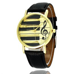 Wholesale Antique Notes - Wristwatches Piano Notes Fashion Dress Watches Men's And Women's Watches Leather Quartz Watch Personality Casual Vintage Watch Relogio W0314
