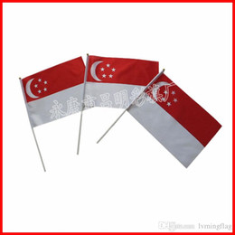 Wholesale Singapore Flag - free shipping high quality Singapore flag,14*21cm county Flag,small hand waving flag in polyester material