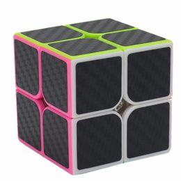 Wholesale Carbon Fiber Cube - Zcube 2x2x2 Carbon Fiber Sticker Speed Smooth Magic Cube Fidget Cube