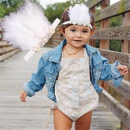 Wholesale Diamond Feather Headband - Hot sale White diamond feather Headbands baby girls cute hair band Newborn Head Bands Infants Childrens Accessories Toddler Hair ribbon A358