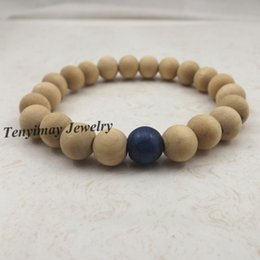 Wholesale Blue Wood Beads - 20pcs lot Stretchy 10mm Original Wood Beaded Bracelets With Royal Blue Turquoise Bead For Women Fashion Jewelry