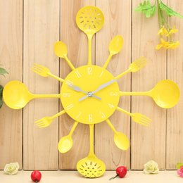 Wholesale Utensils Clock - Wholesale- Metal Kitchen Cutlery Utensil Wall Clock Spoon Fork Ladel Home Christmas Decor A great gift Colorful