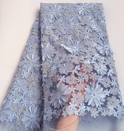 Wholesale Fabric African - Unique baby blue 5 yards soft French Lace African tulle Lace Fabric With Beads Appliques high quality