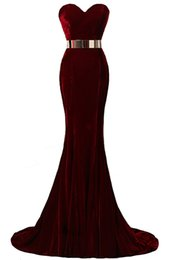 Wholesale Hot Sweetheart Dress - Hot Sale 2017 In Stock Free Shipping Sweetheart Neck Mermaid Evening Dresses Velvet Burgundy Metal Belt Formal Evening Gowns Prom Dresses