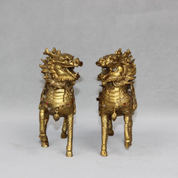Wholesale Antique Collectible Figurines - 6''Brass Fengshui Dragon Kirin Unicorn kylin Chi Lin Figurine Statue Pair home decoration