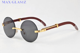 Wholesale Womens Polarized Sunglasses Designer - rimless sunglasses eyewear luxury polarized vintage mens womens aviator sunglasses brand designer oversized round wooden eyeglasses