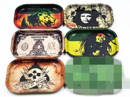 Wholesale Bob Boxing - metal roll rolling trays papers Bob Marley tray 18cm*14cm*1.5cm for smoking pipes 6 pattern