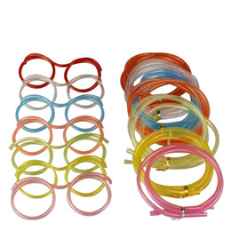 Wholesale Novelty Crazy Straw Glasses - Color assorted Eco-friendly Crazy drinking straws glasses novelty tube joke fun for children party