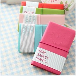 Wholesale Wholesale Mini Smiley Diary - Wholesale- Mini Cute Lovely Color Paper Smiley Journal Notebook Kawaii Cartoon Hardcover Diary Notepad School Supplies 01607
