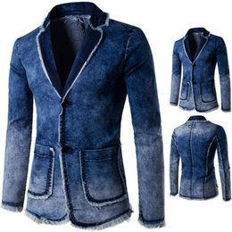 Wholesale Denim Blazers For Men - Mens Blue Printed Blazer Pattern Slim Fitted Prom Denim Blazers For Men Casual Two Buttons Suit Jacket Stage Costumes For Singers Free Shipp