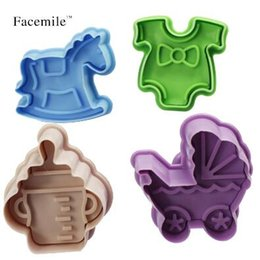 Wholesale Cookie Press Wholesale - 4pcs set 3D Plastic Bottle Shape And Trojans Cookies Cutter Spring Pressing Mould Cake Decorating Tools Baking Pastry Tools CCA7137 50set