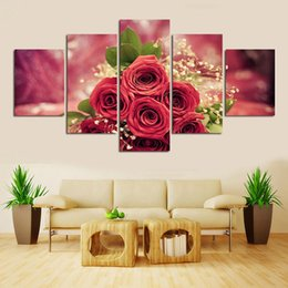 Wholesale red floral wall art - 5 Panel Red Rose Canvas Painting for Living Room Wall Art Picture Gift Home Decoration Unframed Free shipping