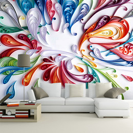 Цветочные обои онлайн-Wholesale- Custom 3D Mural Wallpaper For Wall Modern Art Creative Colorful Floral Abstract Line Painting Wall Paper For Living Room Bedroom
