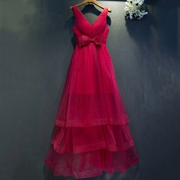 Wholesale Organza Rose Bow - Rose Pink Prom Dresses Long 2017 Sexy V Neck Organza Custom Made Tiered Elegant Formal Dress for Women Plus Size Evening Party Gowns