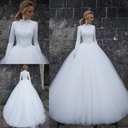 2019 robe de soirée en dentelle bleu pastel Robes de mariée musulmanes en dentelle blanche de robe de bal avec de longues manches Robe de mariée à col haut Balayage Train Tulle Robes de mariée
