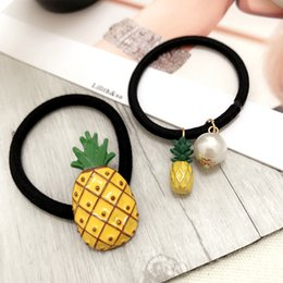 Wholesale Animal Shape Rubber Band - New Popular Fruit Rubber Bands Girls Hair Accessories Pineapple Shape Elastic Hair Bands for Women Girls Headwear