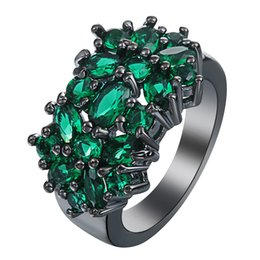 Wholesale Green Stone Prices - Wholesale- New Flower black Rings for women fashion jewelry gift elegant princess Green Stone czech zircon Engagement Ring factory Price