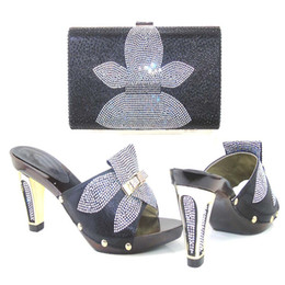 Wholesale Bling Rhinestone Shoes - Graceful shiny high heel shoes set handbag with bling bling rhinestones matching high class bag for party TYS17-30